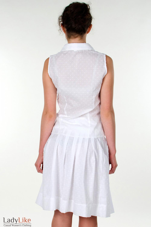 Фото Блузка белая без рукавов вид сзади Деловая женская одежда