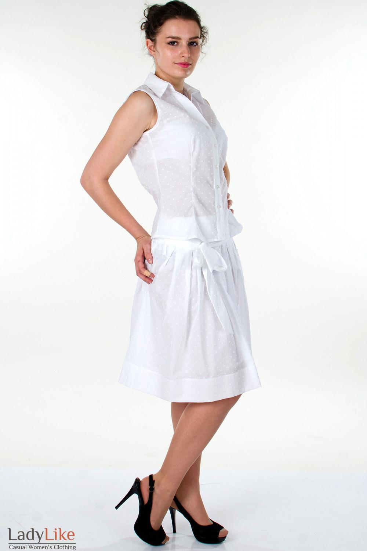 Фото Блузка белая без рукавов вид справа Деловая женская одежда