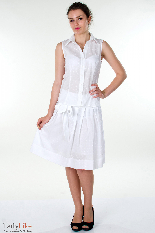 Фото Блузка белая без рукавов вид спереди Деловая женская одежда
