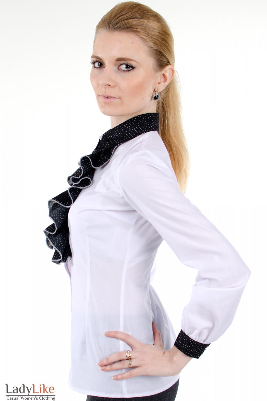 Блузка С Жабо Белая Купить В