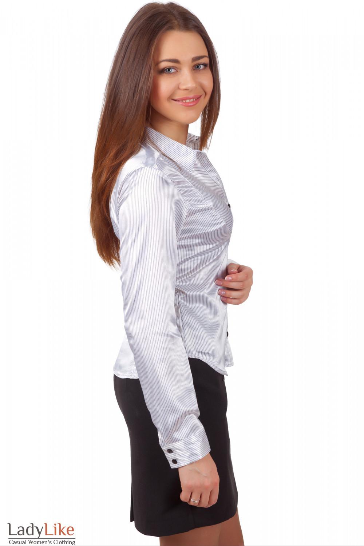 Фото Блузка белая из атласа Деловая женская одежда