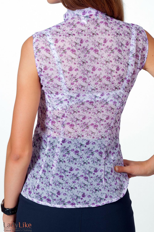 Фото Блузка без рукавов в сиреневый цветочек вид сзади Деловая женская одежда