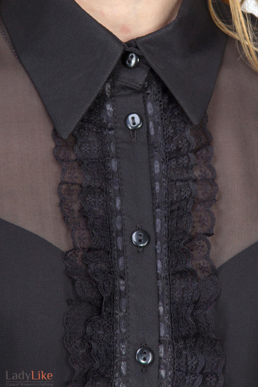 Фото Блузка черная с рюшью-кружевом. Вид спереди. Деловая женская одежда