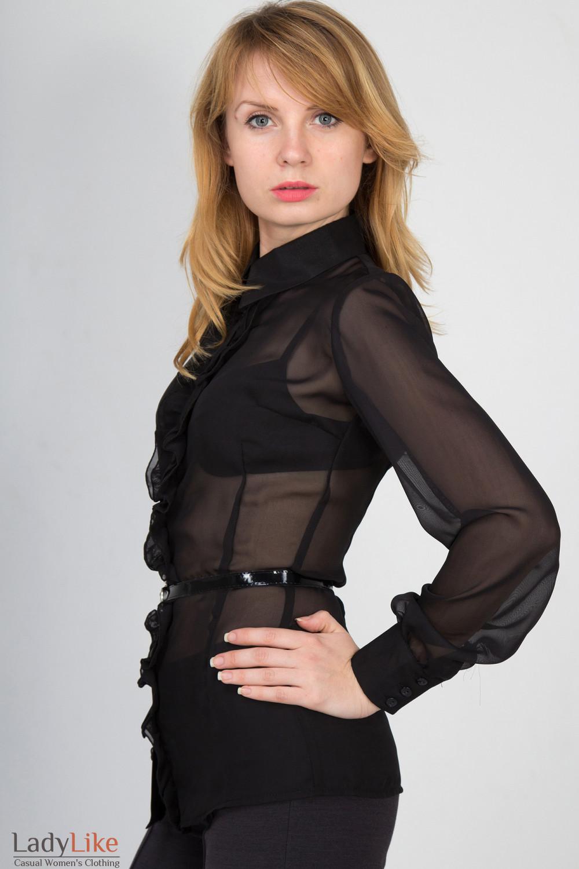 Фото Блузка черная с рюшью вид сбоку Деловая женская одежда