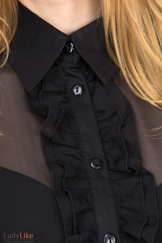 Фото Блузка черная с рюшью вид спереди Деловая женская одежда