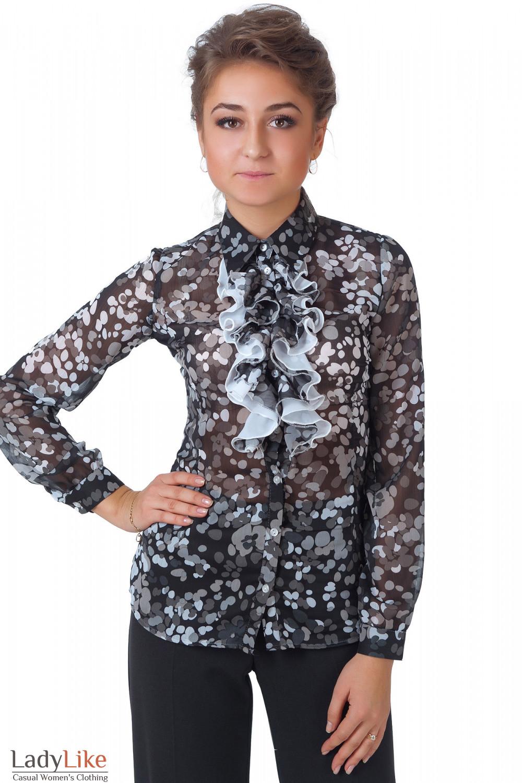 Фото Блузка черная с жабо в серые кружочки Деловая женская одежда