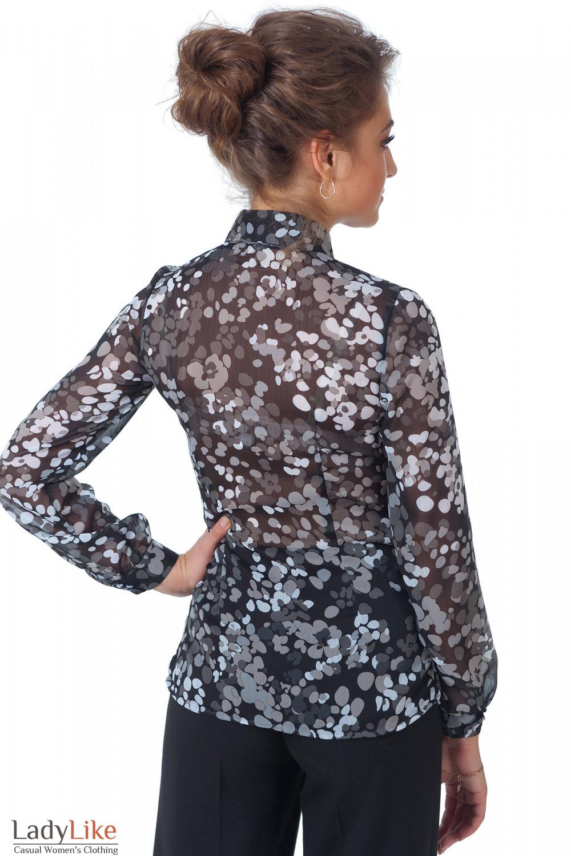 Фото Блузка черная с жабо в серые кружочки вид сзади Деловая женская одежда