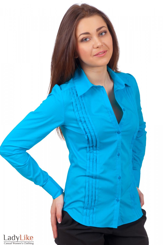 Фото Блузка голубая со складочками Деловая женская одежда