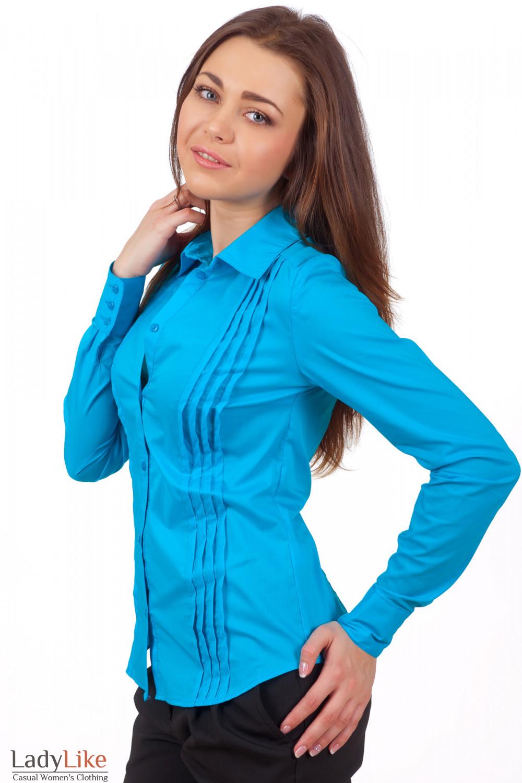 Фото Блузка голубая Деловая женская одежда