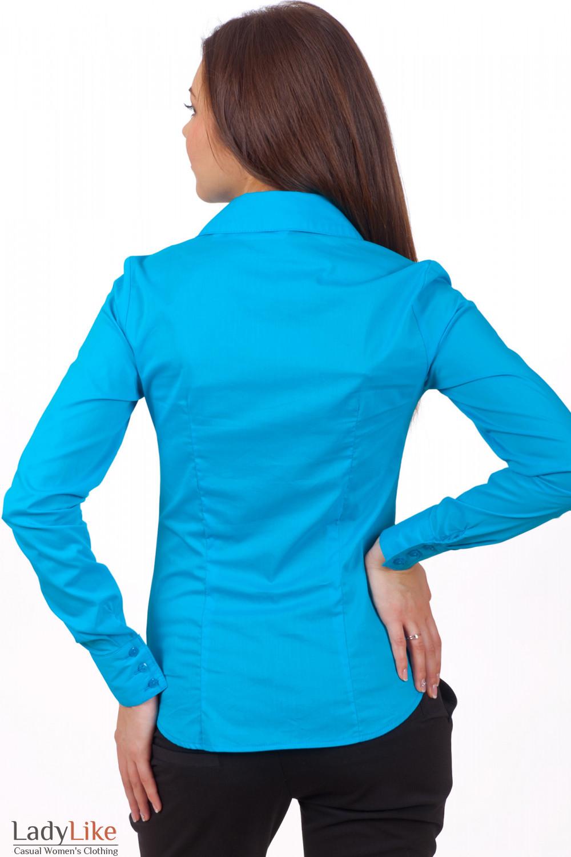 Фото Блузка голубая из хлопка Деловая женская одежда