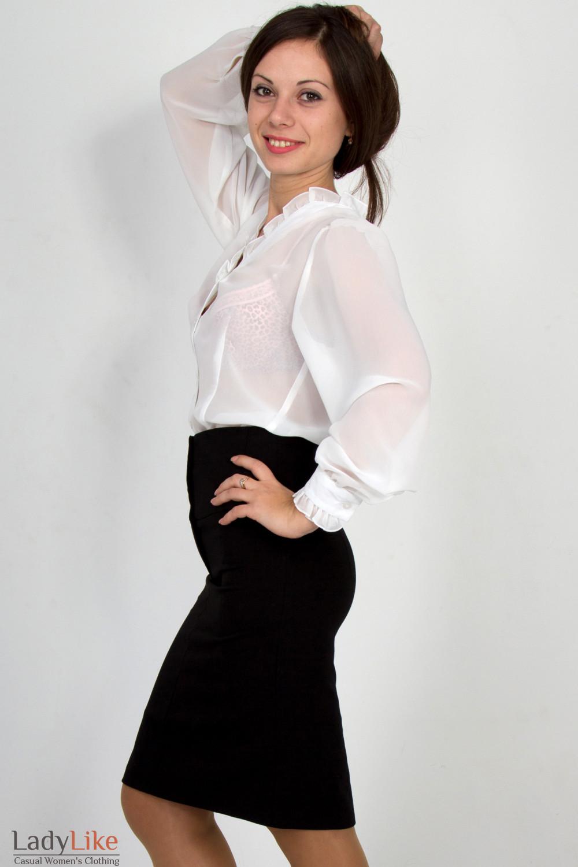 Фото Блузка из белого шифона. Вид сбоку Деловая женская одежда