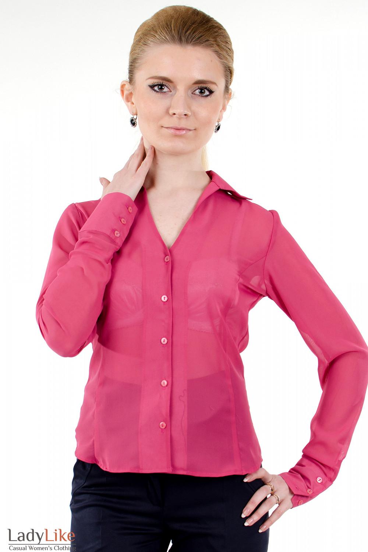 Фото Блузка из розового шифона Деловая женская одежда