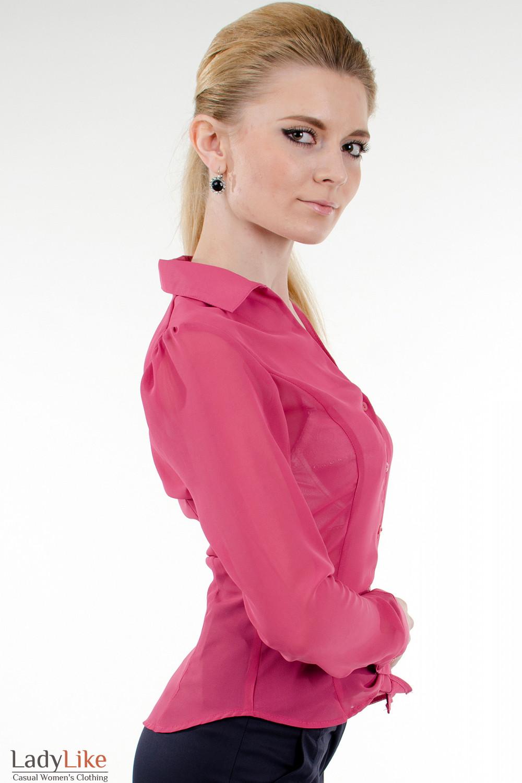 Фото Блузка из розового шифона вид сбоку Деловая женская одежда