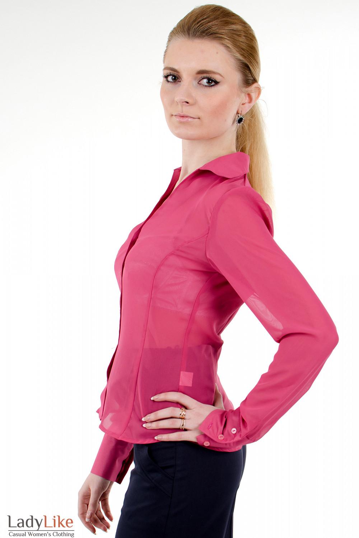 Фото Блузка из розового шифона вид слева Деловая женская одежда