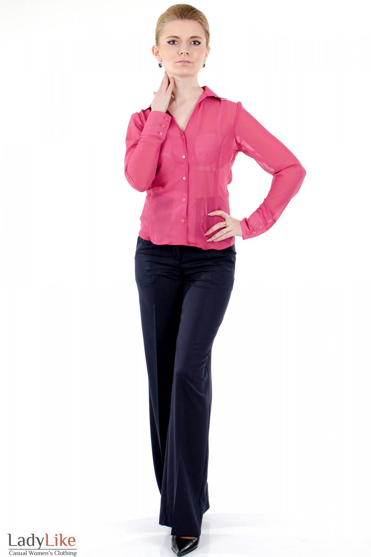 Фото Блузка из розового шифона вид спереди Деловая женская одежда
