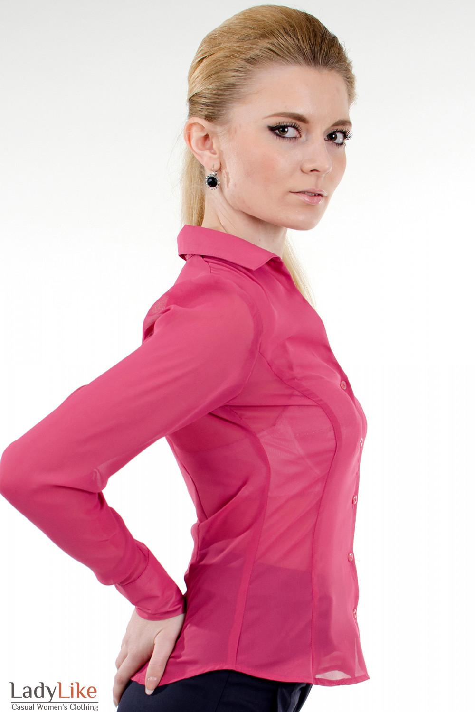 Фото Блузка из розового шифона вид справа Деловая женская одежда