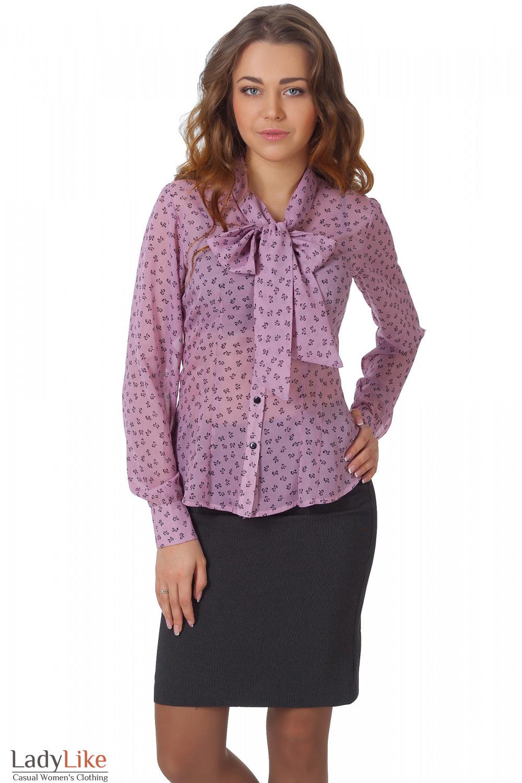 Фото Блузка из розового шифона в бантики вид спереди Деловая женская одежда