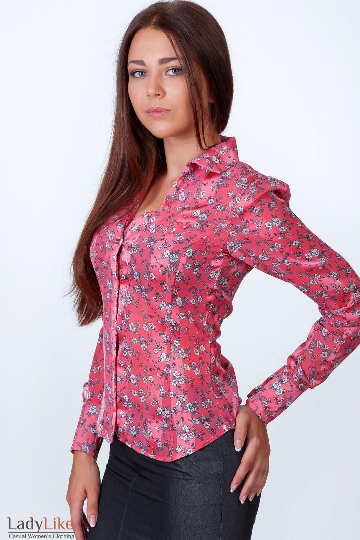 Фото Блузка коралловая в мелкий цветочек вид сбоку Деловая женская одежда