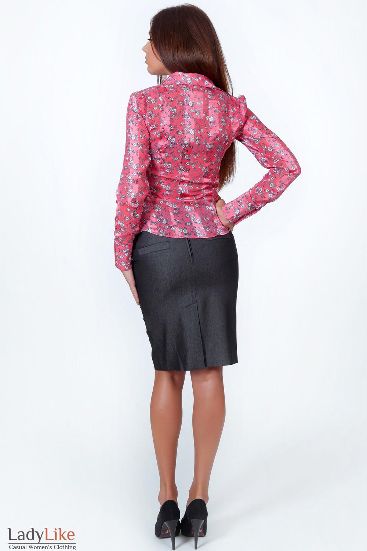 Фото Блузка коралловая в мелкий цветочек вид сзади Деловая женская одежда