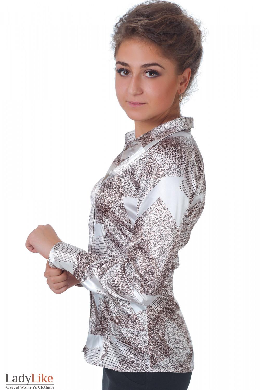 Фото Блузка коричневая геометрия вид сбоку Деловая женская одежда