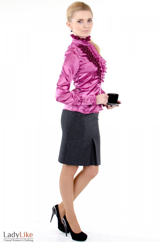 Фото 3 Блузка малиновая с рюшами Деловая женская одежда