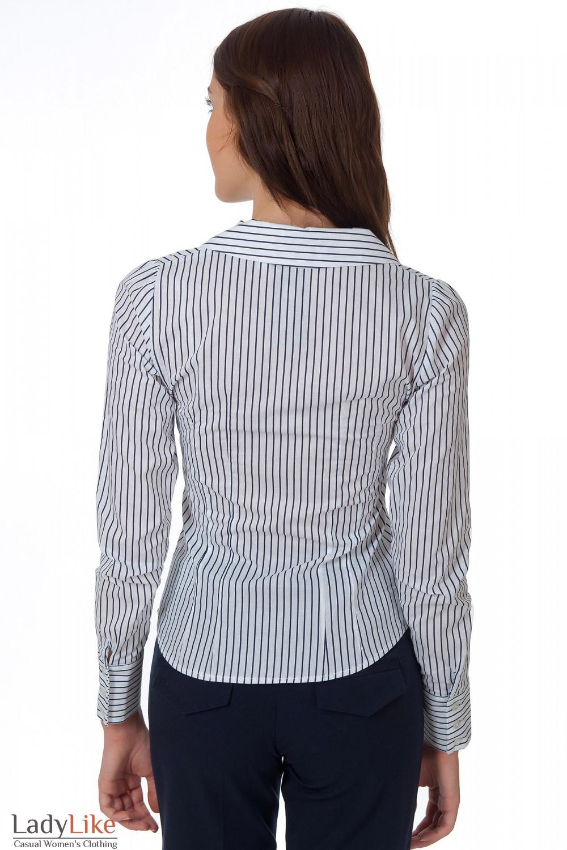 Фото Блузка полосатая с английским воротником вид сзади Деловая женская одежда
