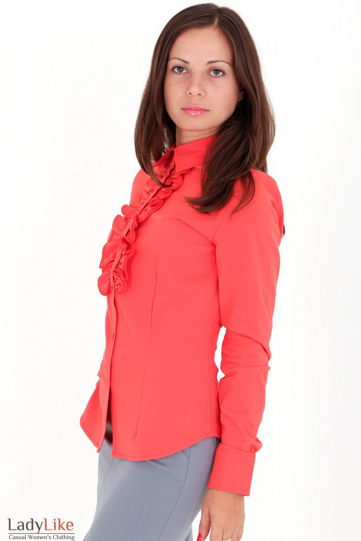 Фото Блузка рыжая с рюшами вид сбоку Деловая женская одежда