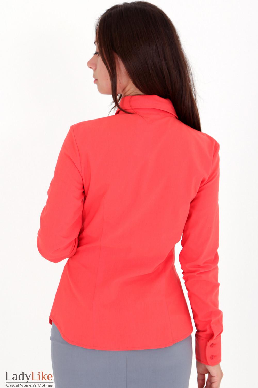 Фото Блузка рыжая с рюшами вид сзади Деловая женская одежда