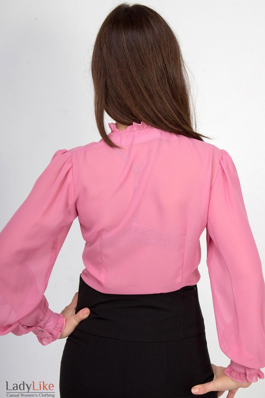 Фото Блузка с рюшами из розового шифона. Вид сзади Деловая женская одежда