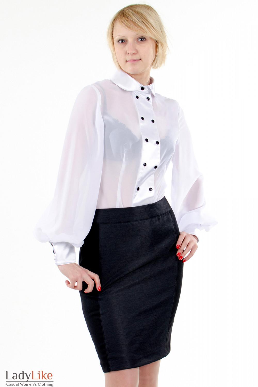 Фото Блузка с широкими рукавами белая. Деловая женская одежда