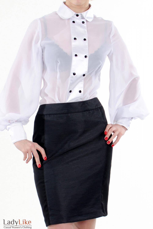 Фото Блузка с широкими рукавами белая. Вид спереди. Деловая женская одежда