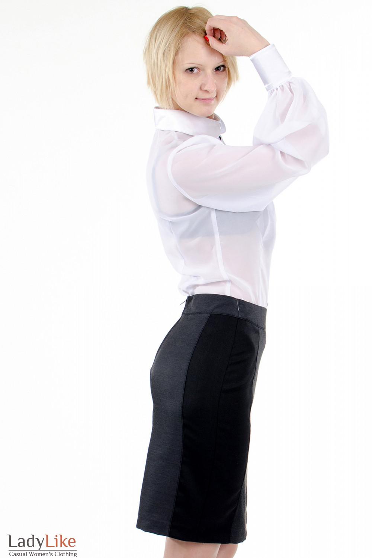 Фото Блузка с широкими рукавами белая. Вид сбоку. Деловая женская одежда