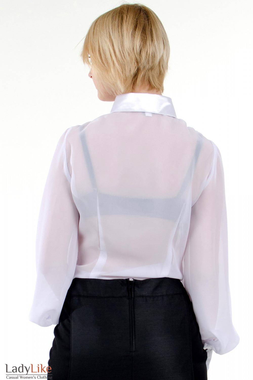 Фото Блузка с широкими рукавами белая. Вид сзади. Деловая женская одежда