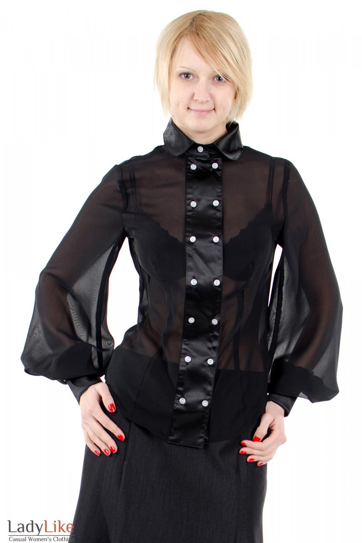 Фото Блузка с широкими рукавами черная. Деловая женская одежда