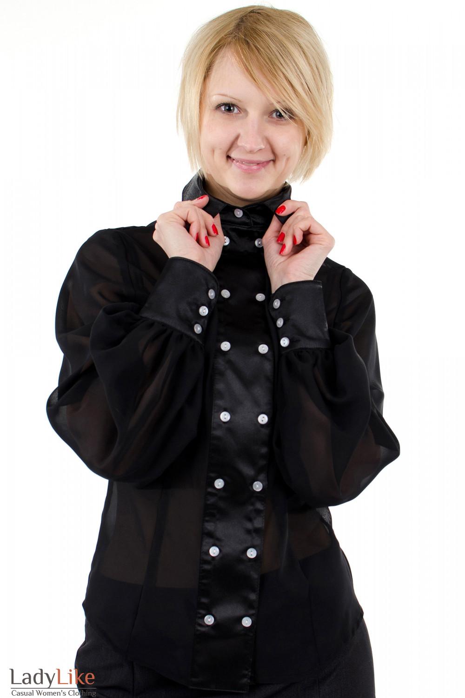 Фото Блузка с широкими рукавами черная. Вид спереди. Деловая женская одежда