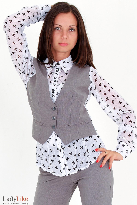 Фото Блузка с жилеткой в бантики Деловая женская одежда