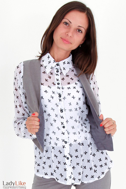 Фото Блузка с жилеткой в бантики вид спереди Деловая женская одежда