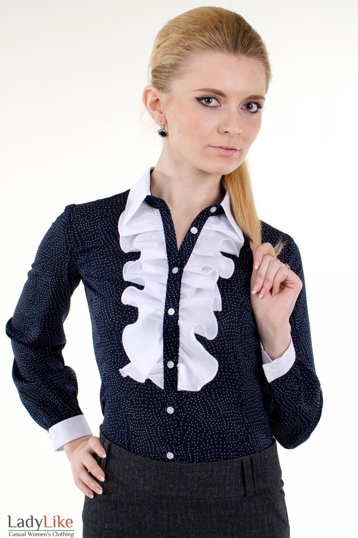 Фото Блузка синяя с белым жабо Деловая женская одежда
