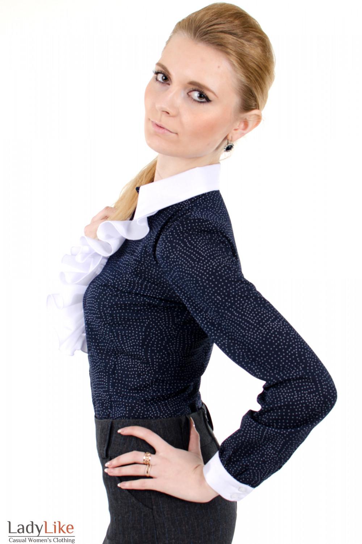 Фото 3 Блузка синяя с белым жабо Деловая женская одежда