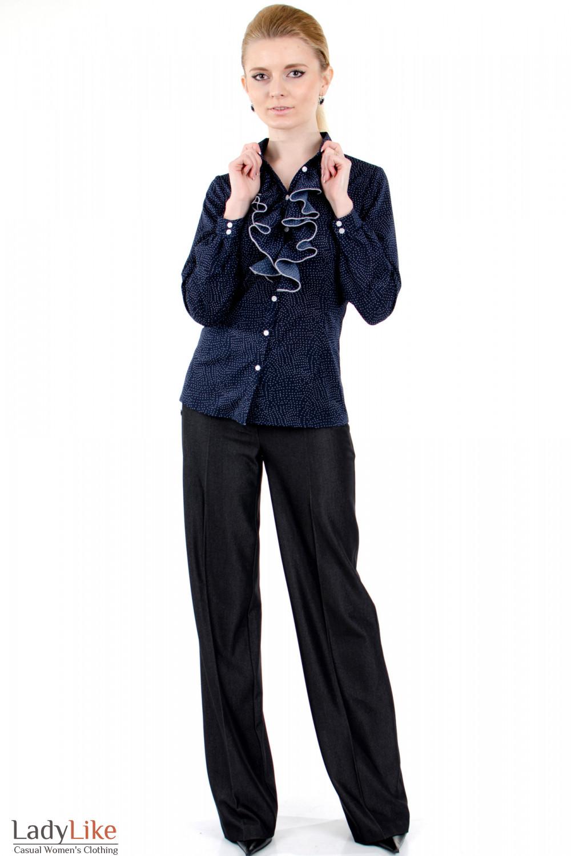 Фото Блузка синяя с жабо вид спереди Деловая женская одежда