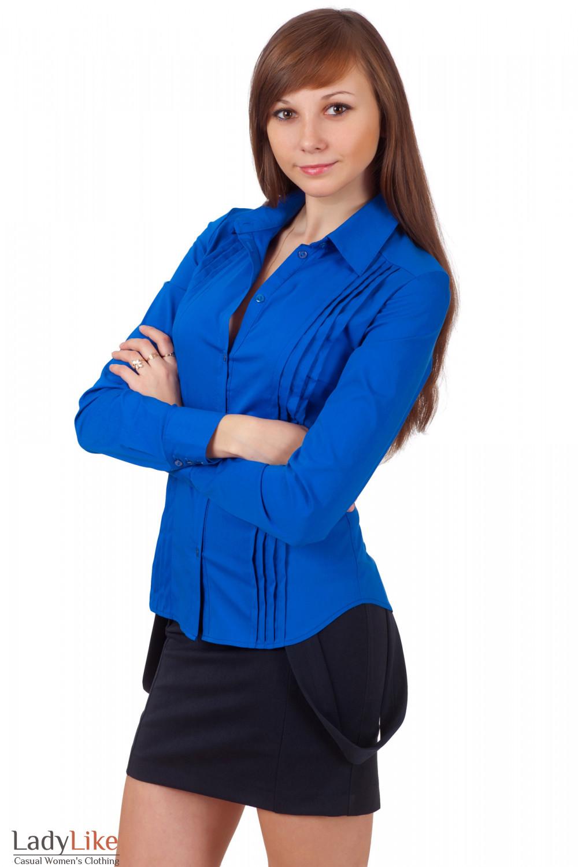 Фото Блузка из синего хлопка Деловая женская одежда