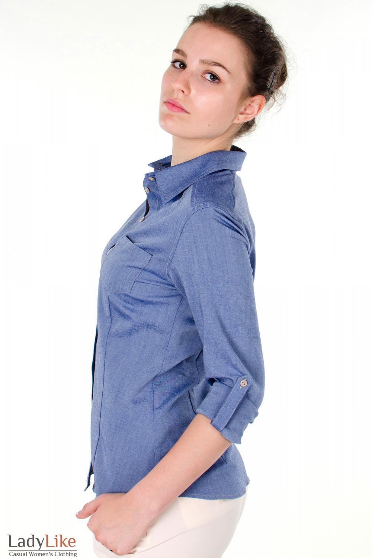 Фото Блузка трансформер голубая вид сбоку Деловая женская одежда