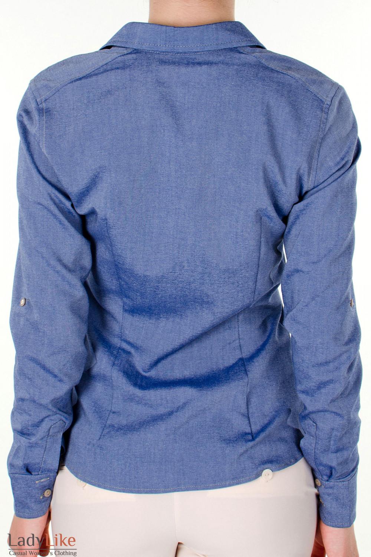 Фото Блузка трансформер голубая вид сзади Деловая женская одежда