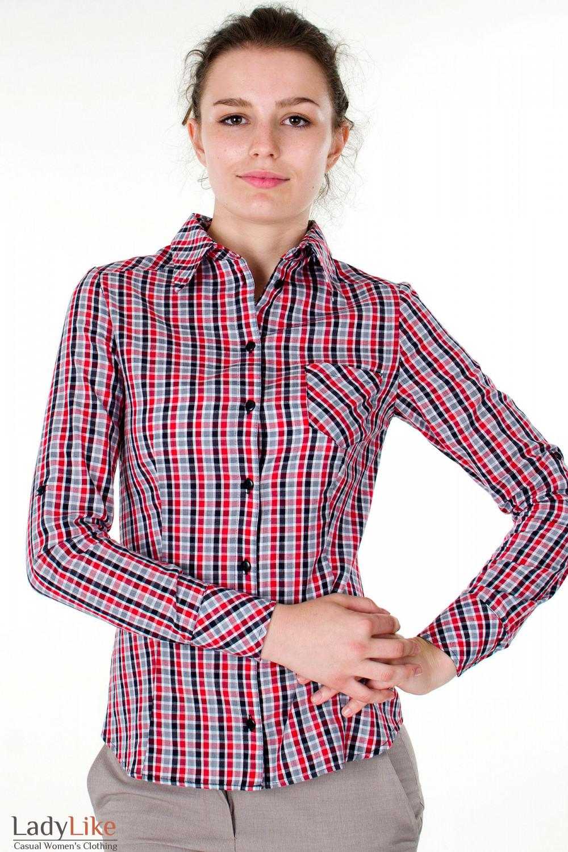 Фото Блузка трансформер в красную клетку вид спереди Деловая женская одежда