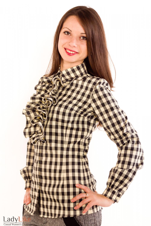 Фото Блузка в коричневую клетку Деловая женская одежда
