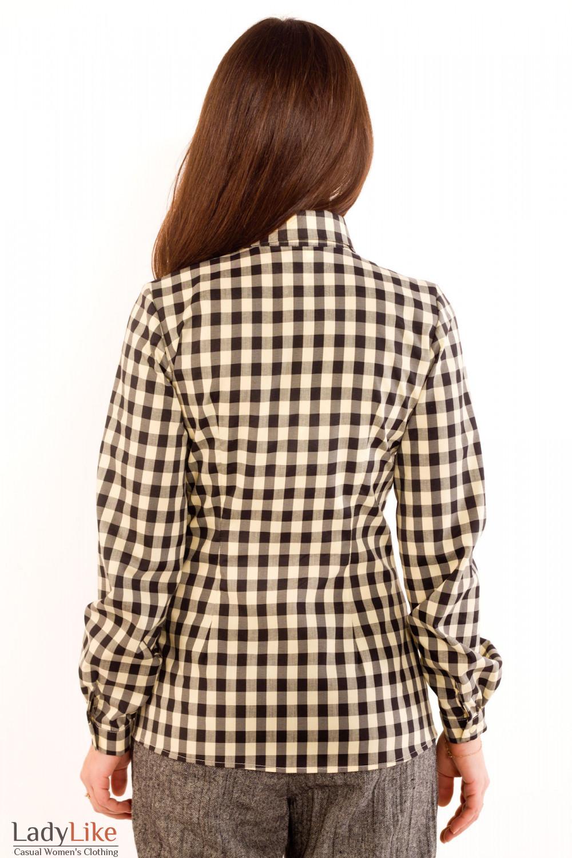 Фото Блузка в коричневую клетку. Вид сзади Деловая женская одежда