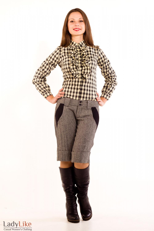 Фото Блузка в коричневую клетку. Вид спереди Деловая женская одежда