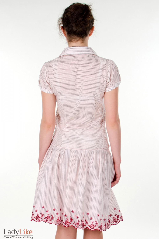 Фото Блузка в красный горошек вид сзади Деловая женская одежда
