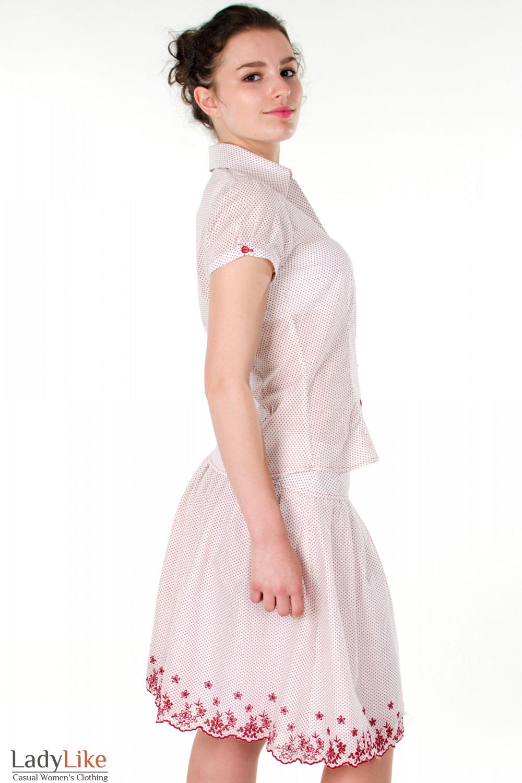 Фото Блузка в красный горошек вид справа Деловая женская одежда