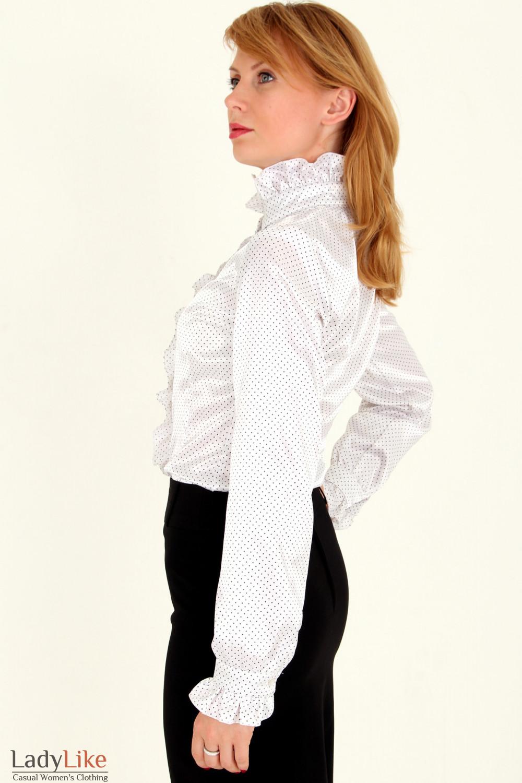 Фото Блузка в мелкий горошек с рюшами вид сбоку Деловая женская одежда